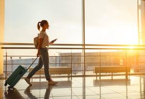 Casual woman at airport